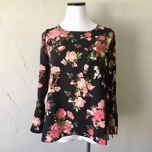 Faith & Joy black floral bell sleeve top